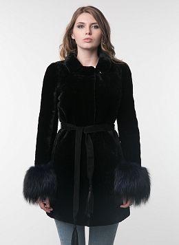 Пальто приталенное из мутона 32, КАЛЯЕВ