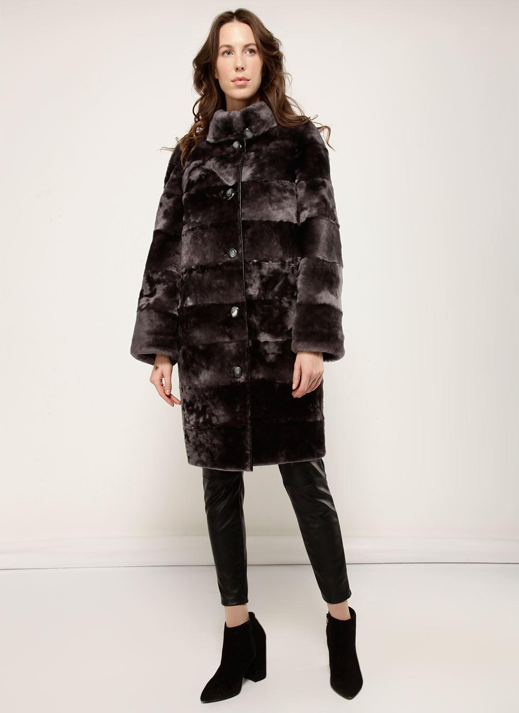 Пальто кокон из мутона 05, Aliance fur