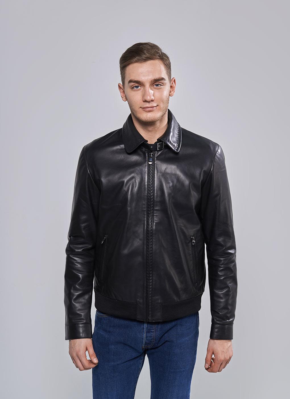 Кожаная куртка мужская утепленная 09, Perre фото