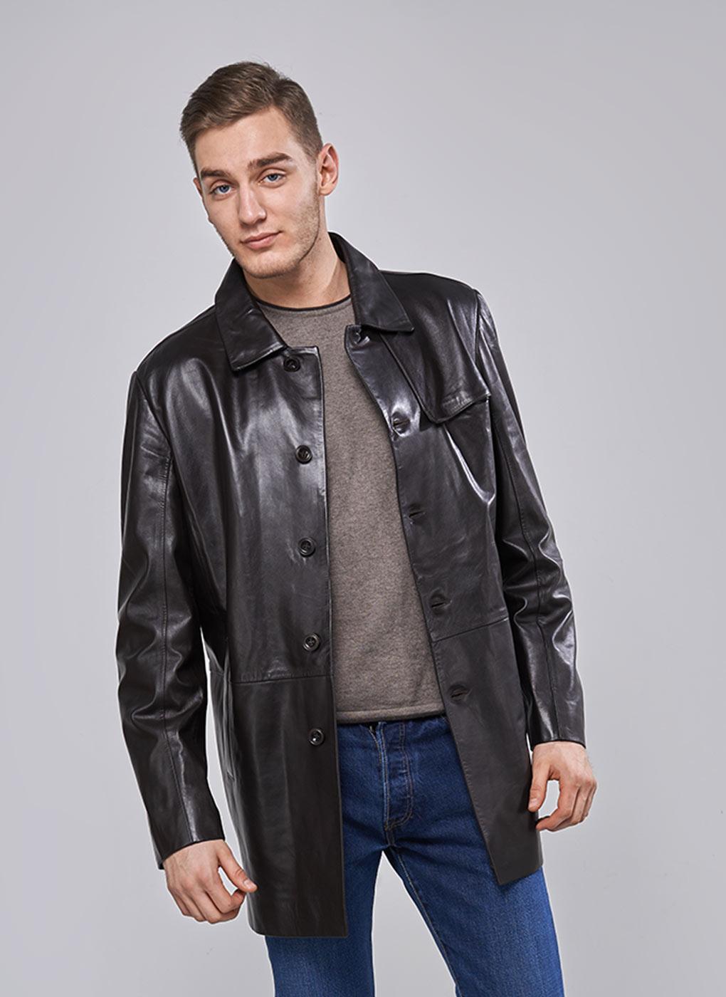 Кожаная куртка мужская утепленная 21, PERRE фото