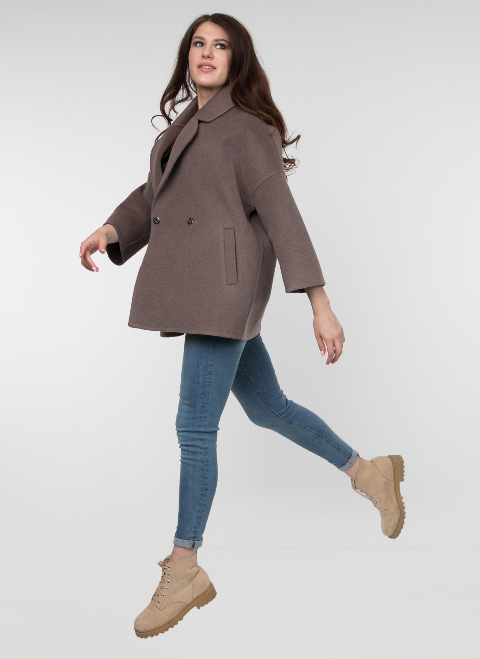 Пальто без подкладки укороченное прямое полушерстяное 071, КАЛЯЕВ