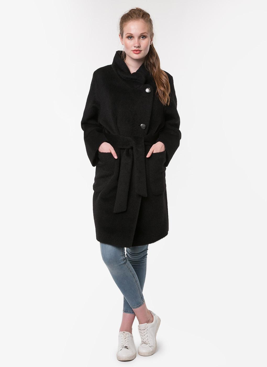 Пальто с поясом и накладными карманами чистошерстяное 02, Bella Collection фото