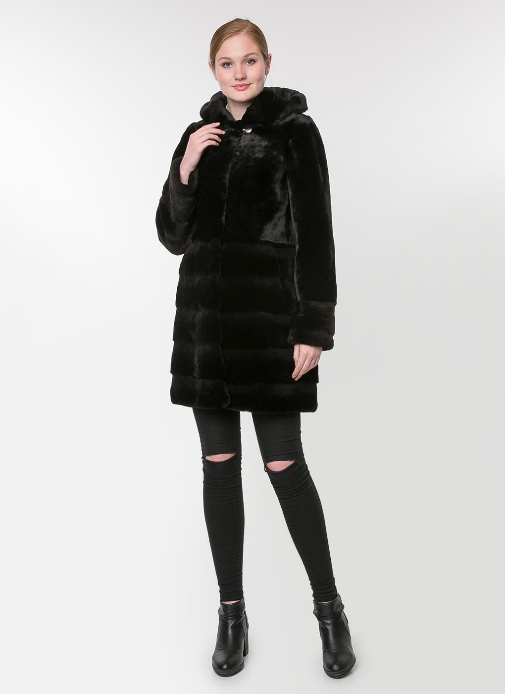 Пальто приталенное из мутона 34, Заря