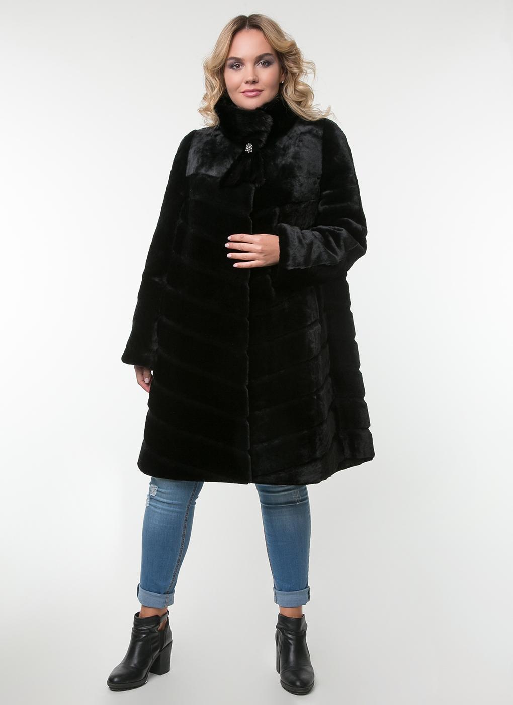 Пальто трапеция из овчины 01, Feliz Furs