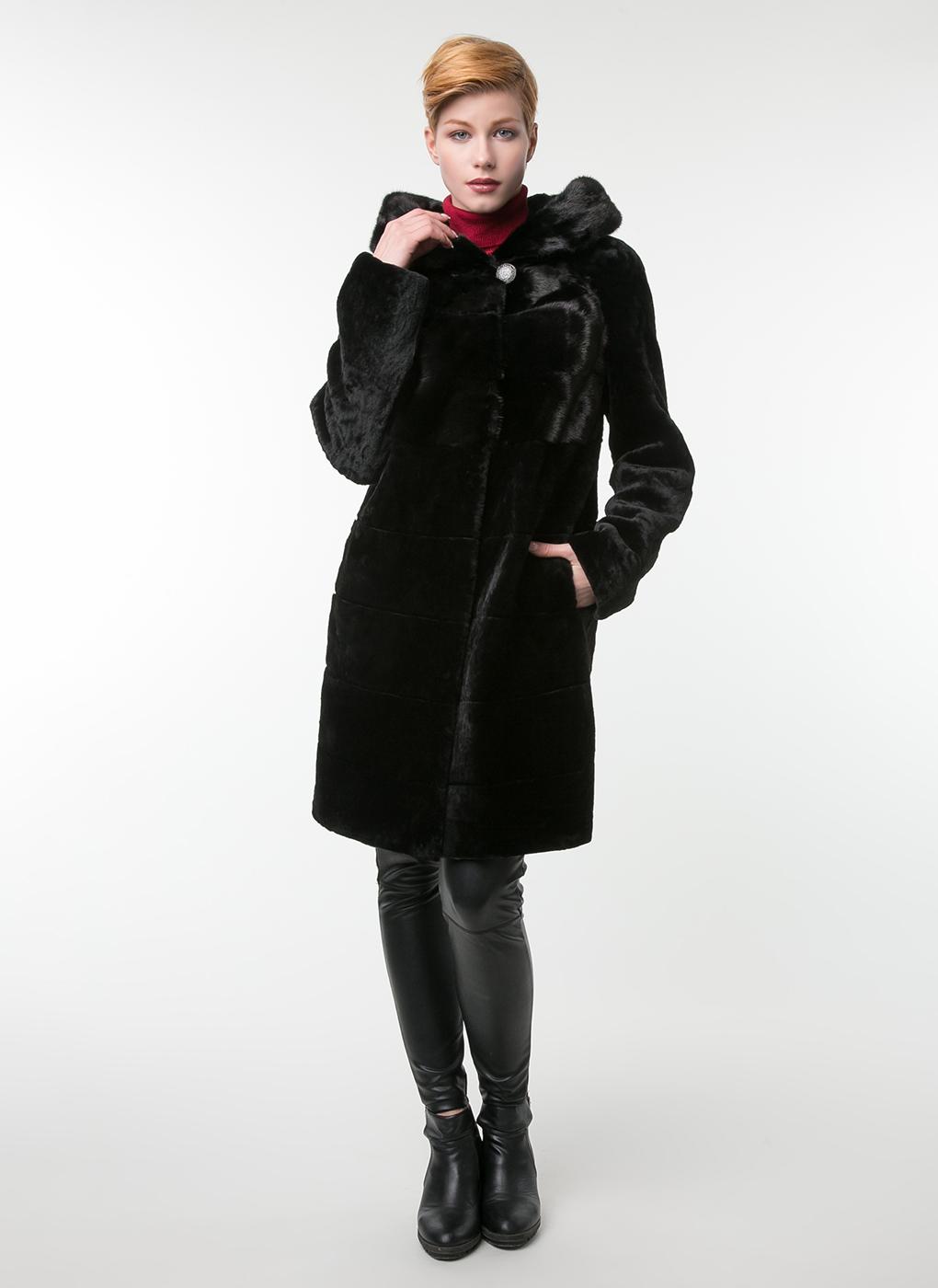 Пальто прямое из мутона 01, Alfafur фото