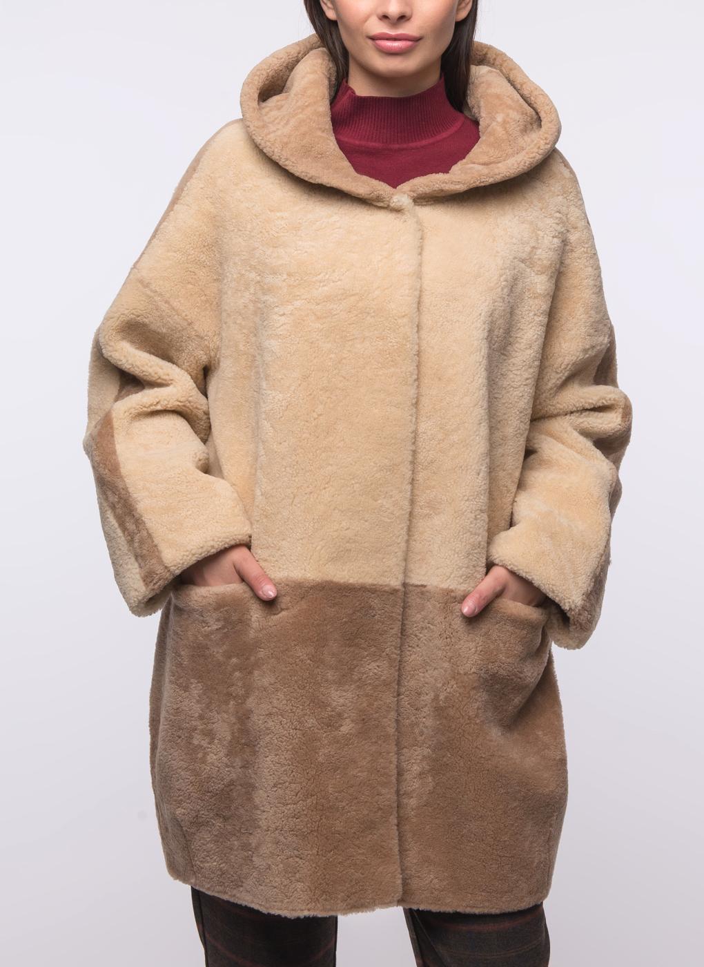 Пальто кокон из овчины 03, Шафель