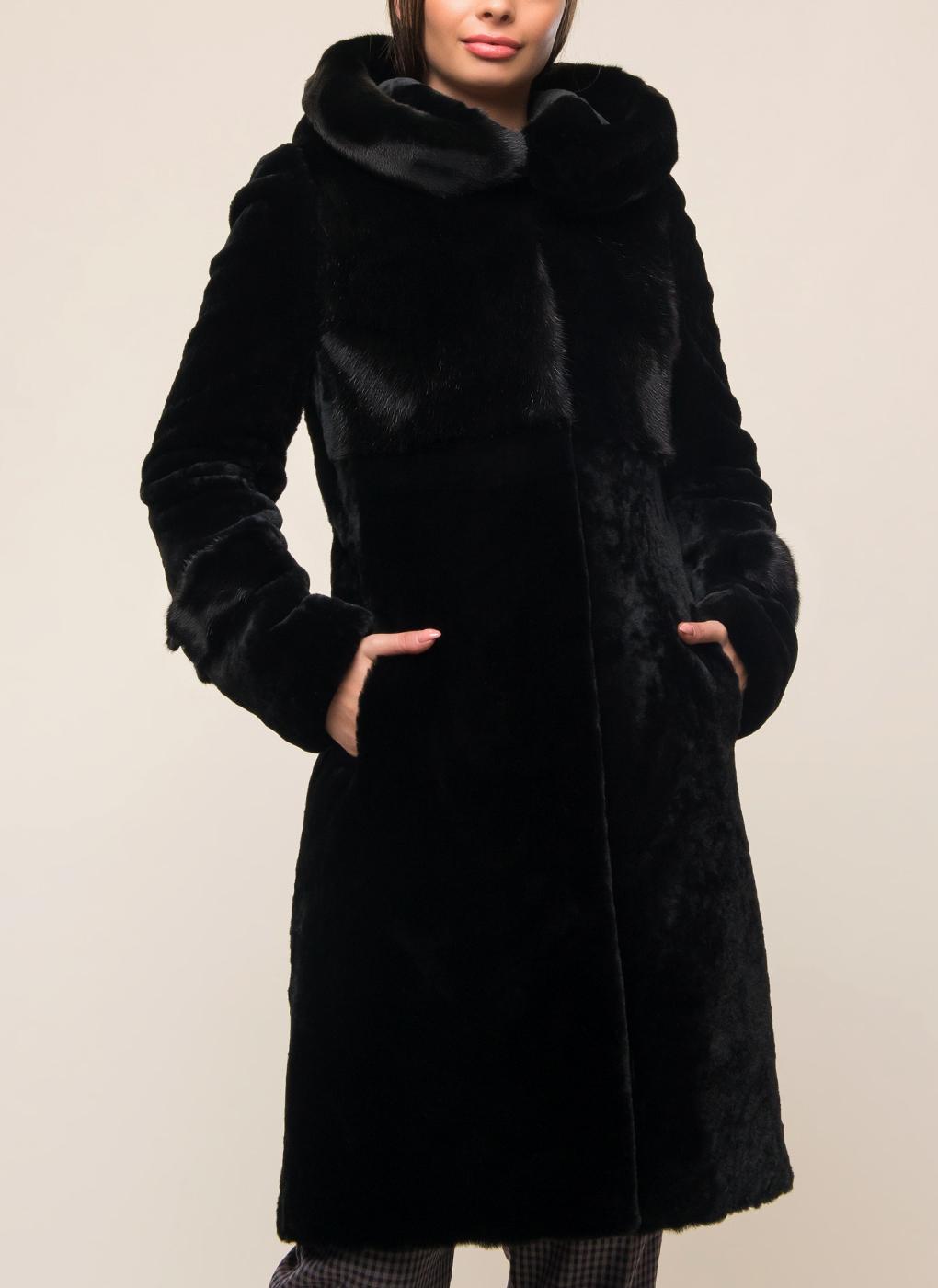 Пальто приталенное из мутона 05, Заря