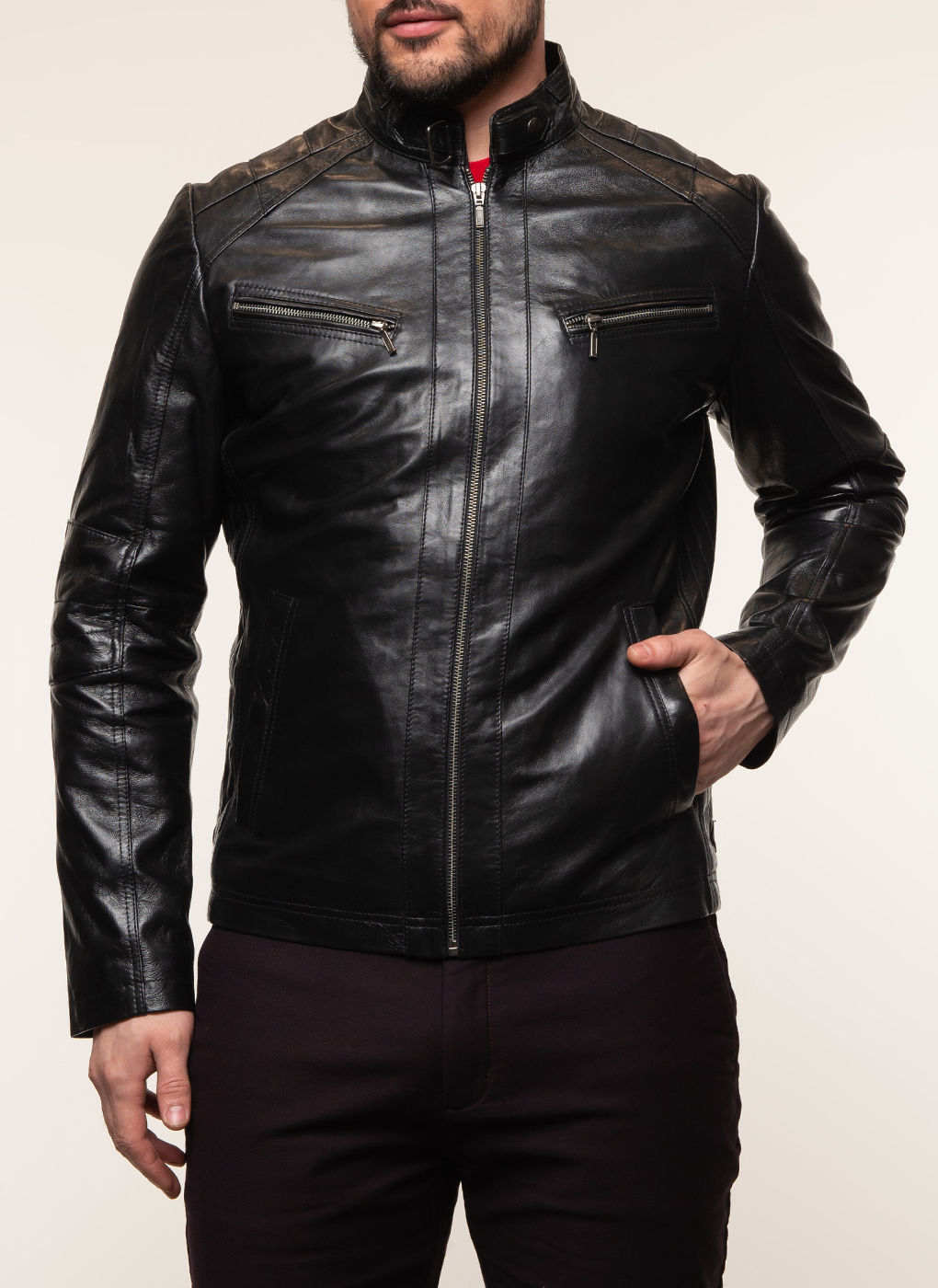 Кожаная куртка мужская 09, КАЛЯЕВ
